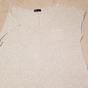 XL GAP white/grey stripe loose fit pocket t